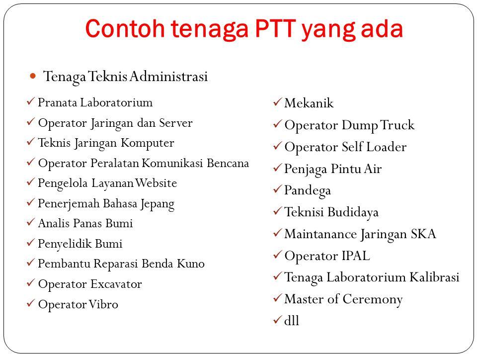 Contoh tenaga PTT yang ada Tenaga Teknis Administrasi Pranata Laboratorium Operator Jaringan dan Server Teknis Jaringan Komputer Operator Peralatan Ko