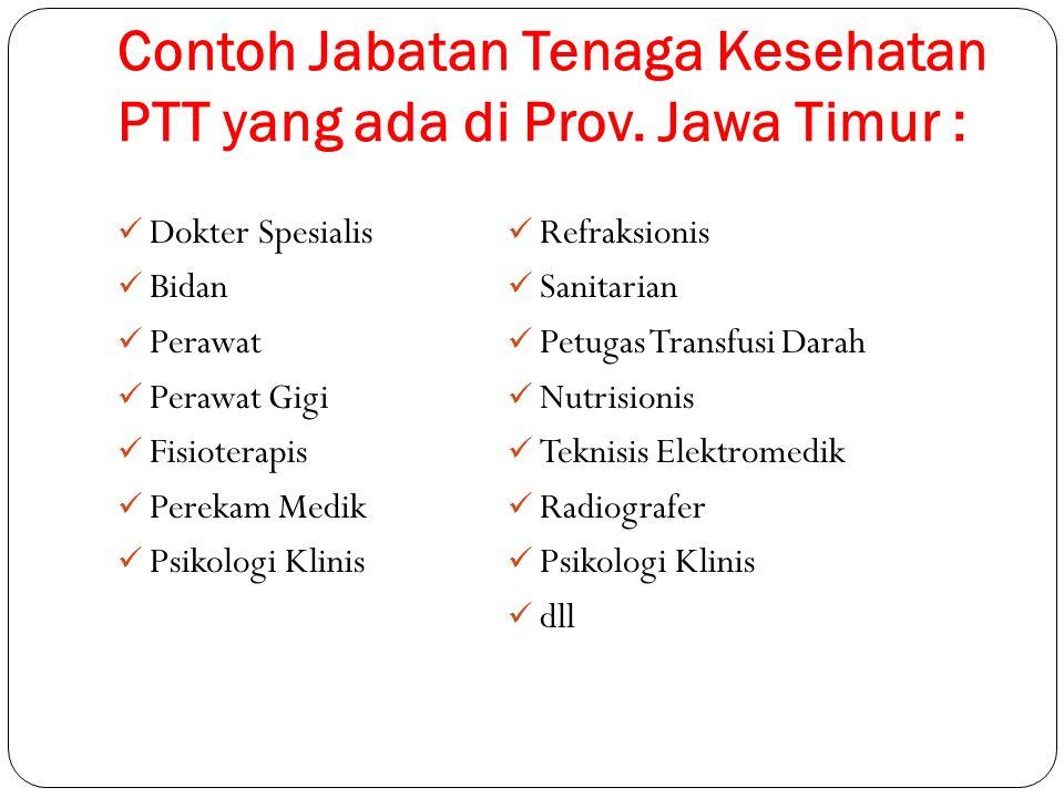 Contoh Jabatan Tenaga Kesehatan PTT yang ada di Prov. Jawa Timur : Dokter Spesialis Bidan Perawat Perawat Gigi Fisioterapis Perekam Medik Psikologi Kl
