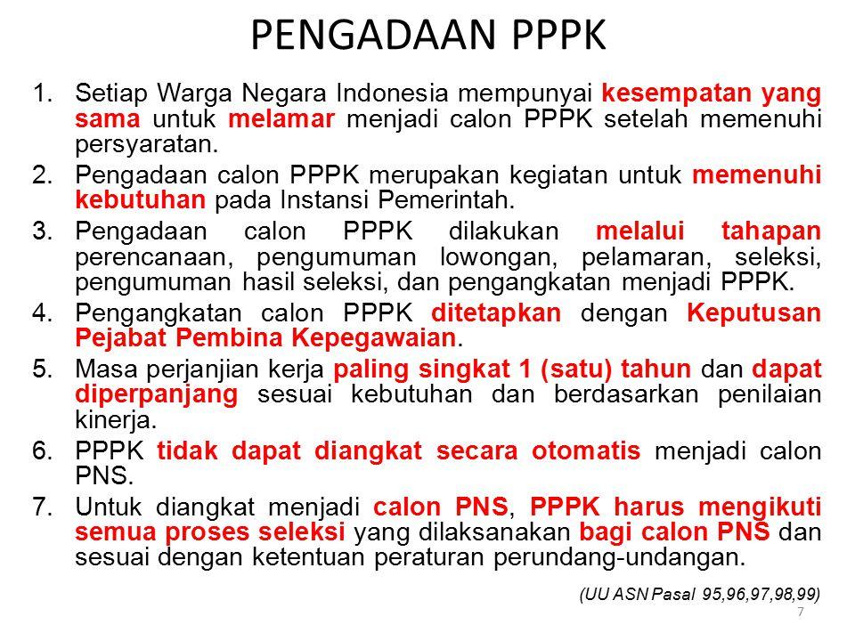 1.Setiap Warga Negara Indonesia mempunyai kesempatan yang sama untuk melamar menjadi calon PPPK setelah memenuhi persyaratan. 2.Pengadaan calon PPPK m