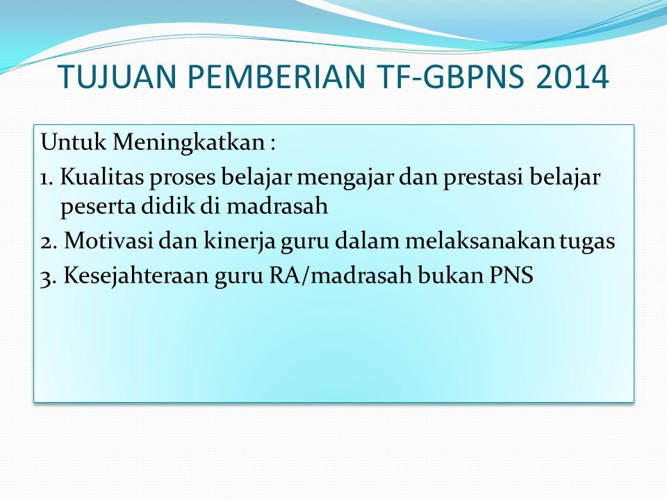 TUJUAN PEMBERIAN TF-GBPNS 2014 Untuk Meningkatkan : 1.