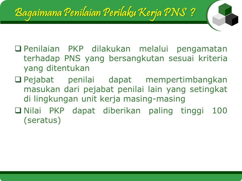 Bagaimana Penilaian Perilaku Kerja PNS ?  Penilaian PKP dilakukan melalui pengamatan terhadap PNS yang bersangkutan sesuai kriteria yang ditentukan 