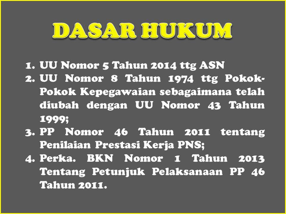 1.UU Nomor 5 Tahun 2014 ttg ASN 2.UU Nomor 8 Tahun 1974 ttg Pokok- Pokok Kepegawaian sebagaimana telah diubah dengan UU Nomor 43 Tahun 1999; 3.PP Nomor 46 Tahun 2011 tentang Penilaian Prestasi Kerja PNS; 4.Perka.