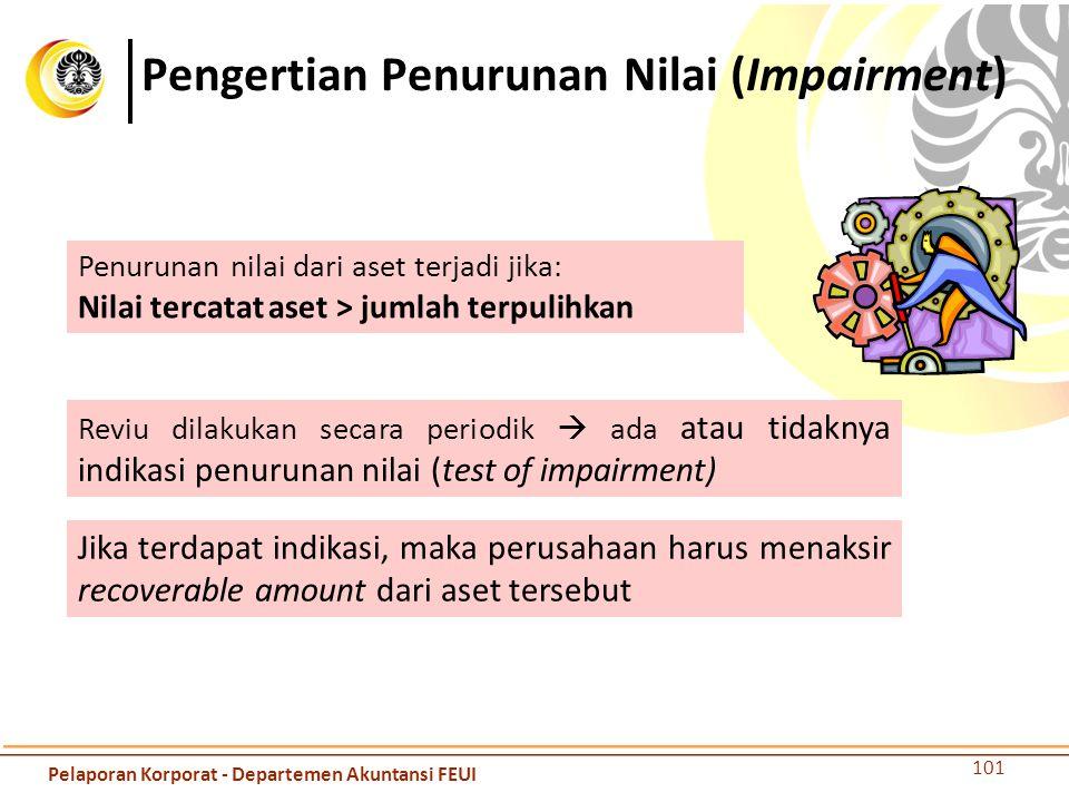 Pengertian Penurunan Nilai (Impairment) 101 Penurunan nilai dari aset terjadi jika: Nilai tercatat aset > jumlah terpulihkan Reviu dilakukan secara pe