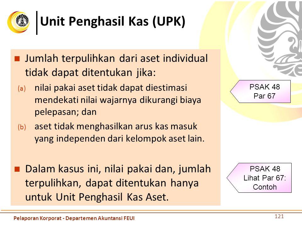 Unit Penghasil Kas (UPK) Jumlah terpulihkan dari aset individual tidak dapat ditentukan jika: (a) nilai pakai aset tidak dapat diestimasi mendekati ni