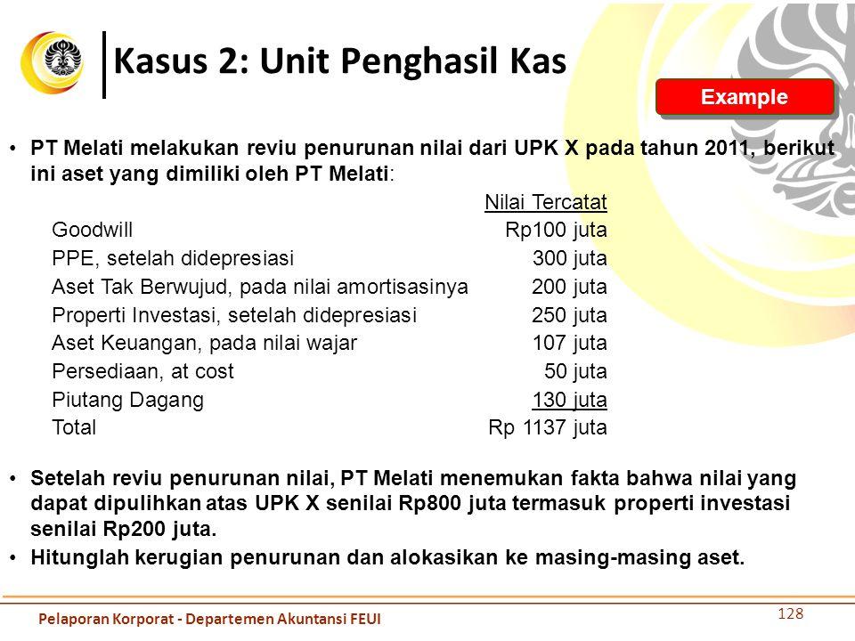 Kasus 2: Unit Penghasil Kas 128 Example PT Melati melakukan reviu penurunan nilai dari UPK X pada tahun 2011, berikut ini aset yang dimiliki oleh PT M
