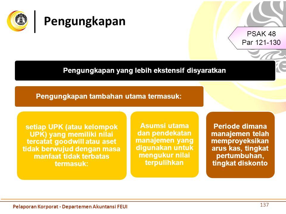 Pengungkapan 137 PSAK 48 Par 121-130 Pengungkapan yang lebih ekstensif disyaratkan Pengungkapan tambahan utama termasuk: setiap UPK (atau kelompok UPK
