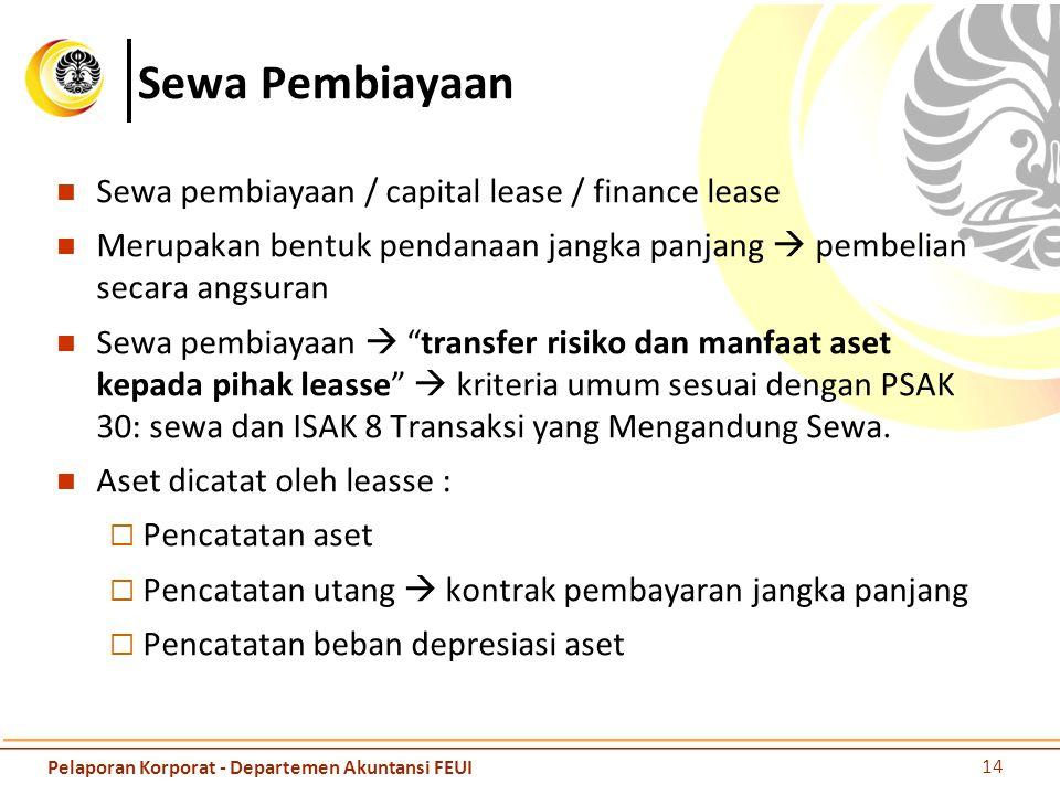 Sewa Pembiayaan Sewa pembiayaan / capital lease / finance lease Merupakan bentuk pendanaan jangka panjang  pembelian secara angsuran Sewa pembiayaan