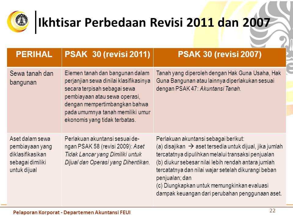 Ikhtisar Perbedaan Revisi 2011 dan 2007 PERIHALPSAK 30 (revisi 2011)PSAK 30 (revisi 2007) Sewa tanah dan bangunan Elemen tanah dan bangunan dalam perj