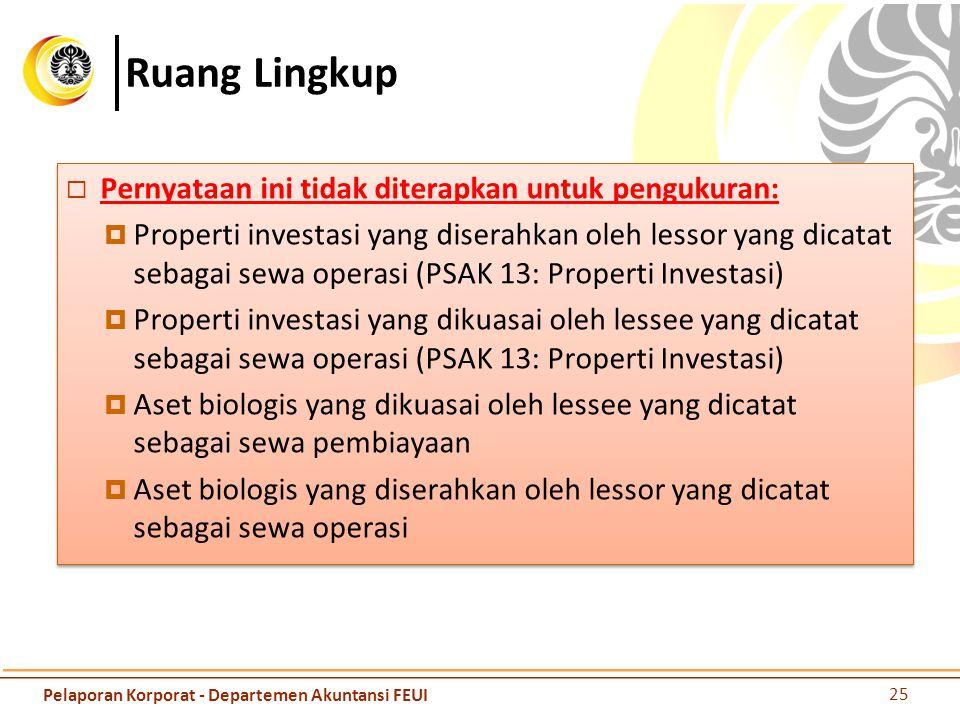 Ruang Lingkup  Pernyataan ini tidak diterapkan untuk pengukuran:  Properti investasi yang diserahkan oleh lessor yang dicatat sebagai sewa operasi (