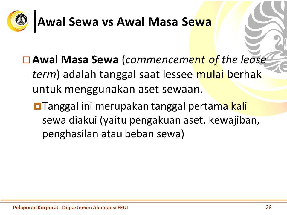 Awal Sewa vs Awal Masa Sewa  Awal Masa Sewa (commencement of the lease term) adalah tanggal saat lessee mulai berhak untuk menggunakan aset sewaan. 