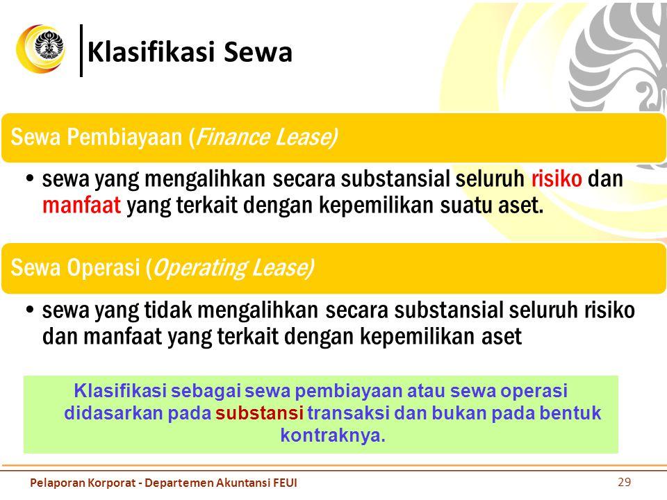 Klasifikasi Sewa Klasifikasi sebagai sewa pembiayaan atau sewa operasi didasarkan pada substansi transaksi dan bukan pada bentuk kontraknya. 29 Pelapo