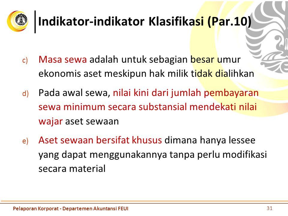Indikator-indikator Klasifikasi (Par.10) c) Masa sewa adalah untuk sebagian besar umur ekonomis aset meskipun hak milik tidak dialihkan d) Pada awal s
