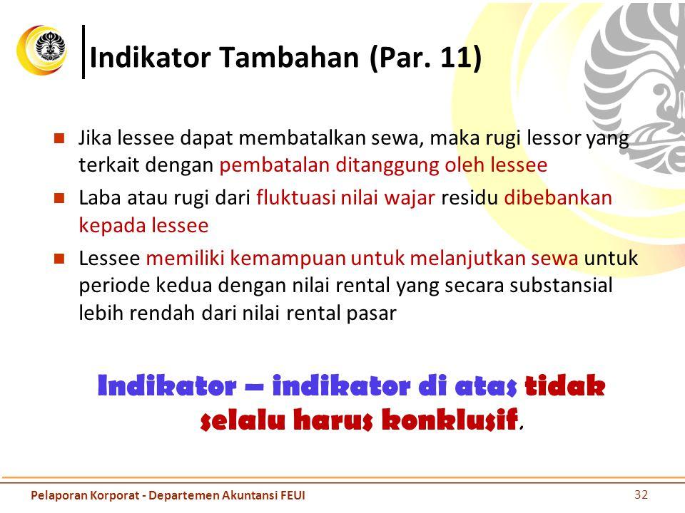 Indikator Tambahan (Par. 11) Jika lessee dapat membatalkan sewa, maka rugi lessor yang terkait dengan pembatalan ditanggung oleh lessee Laba atau rugi