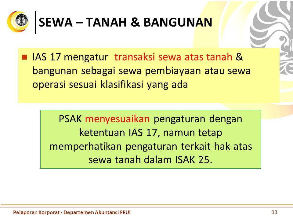 SEWA – TANAH & BANGUNAN IAS 17 mengatur transaksi sewa atas tanah & bangunan sebagai sewa pembiayaan atau sewa operasi sesuai klasifikasi yang ada 33