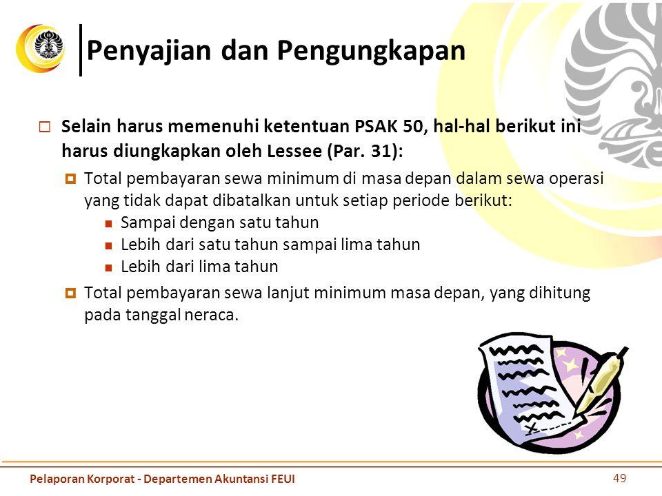 Penyajian dan Pengungkapan  Selain harus memenuhi ketentuan PSAK 50, hal-hal berikut ini harus diungkapkan oleh Lessee (Par. 31):  Total pembayaran