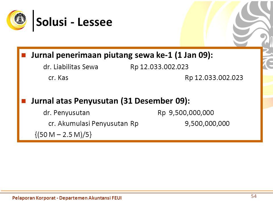 Solusi - Lessee Jurnal penerimaan piutang sewa ke-1 (1 Jan 09): dr. Liabilitas Sewa Rp 12.033.002.023 cr. KasRp 12.033.002.023 Jurnal atas Penyusutan