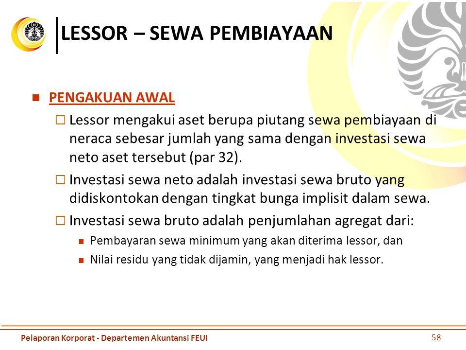 LESSOR – SEWA PEMBIAYAAN PENGAKUAN AWAL  Lessor mengakui aset berupa piutang sewa pembiayaan di neraca sebesar jumlah yang sama dengan investasi sewa
