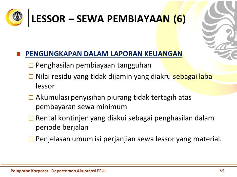 LESSOR – SEWA PEMBIAYAAN (6) PENGUNGKAPAN DALAM LAPORAN KEUANGAN  Penghasilan pembiayaan tangguhan  Nilai residu yang tidak dijamin yang diakru seba