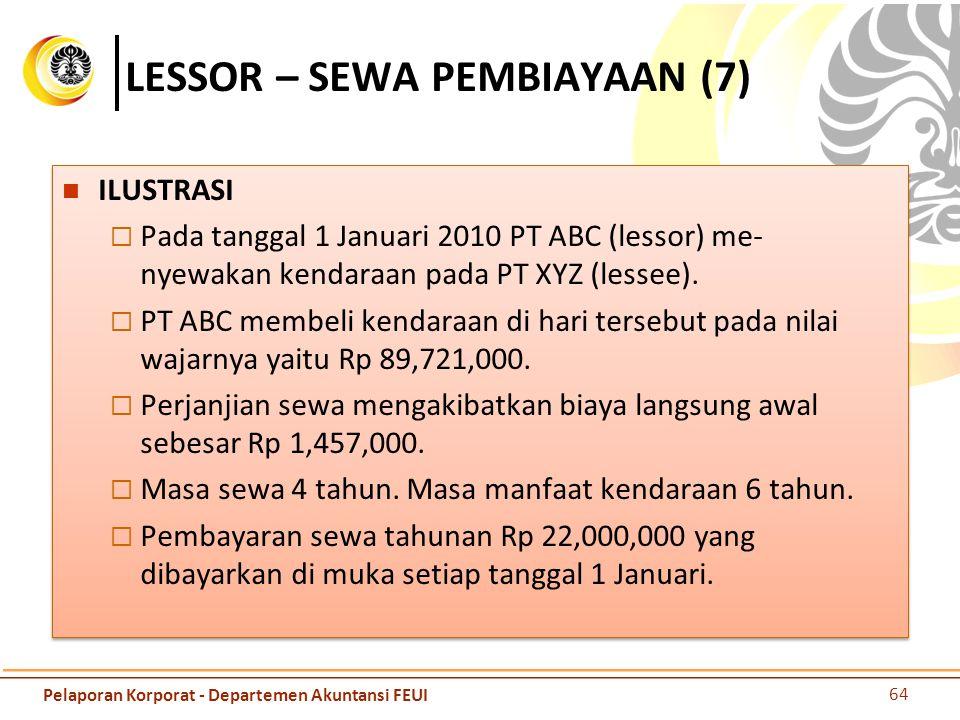 LESSOR – SEWA PEMBIAYAAN (7) ILUSTRASI  Pada tanggal 1 Januari 2010 PT ABC (lessor) me- nyewakan kendaraan pada PT XYZ (lessee).  PT ABC membeli ken