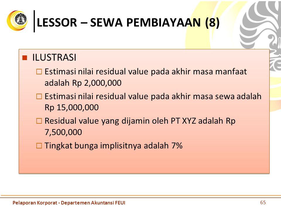 LESSOR – SEWA PEMBIAYAAN (8) ILUSTRASI  Estimasi nilai residual value pada akhir masa manfaat adalah Rp 2,000,000  Estimasi nilai residual value pad