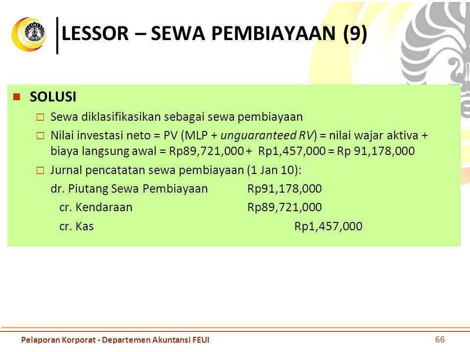 LESSOR – SEWA PEMBIAYAAN (9) SOLUSI  Sewa diklasifikasikan sebagai sewa pembiayaan  Nilai investasi neto = PV (MLP + unguaranteed RV) = nilai wajar
