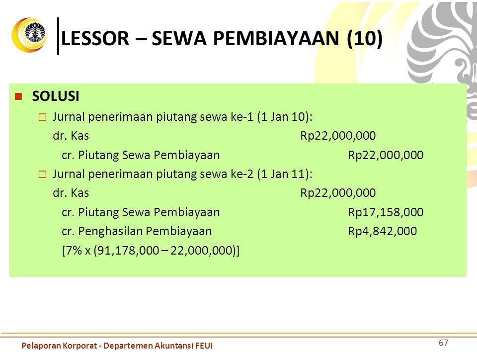 LESSOR – SEWA PEMBIAYAAN (10) SOLUSI  Jurnal penerimaan piutang sewa ke-1 (1 Jan 10): dr. KasRp22,000,000 cr. Piutang Sewa PembiayaanRp22,000,000  J