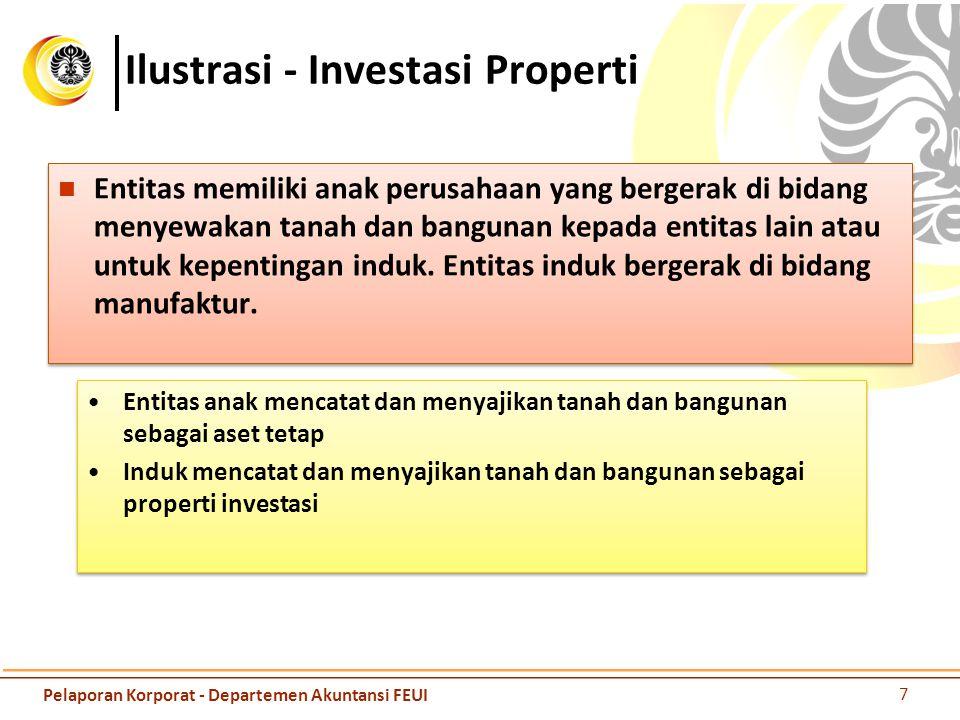 Ilustrasi - Investasi Properti Entitas memiliki anak perusahaan yang bergerak di bidang menyewakan tanah dan bangunan kepada entitas lain atau untuk k