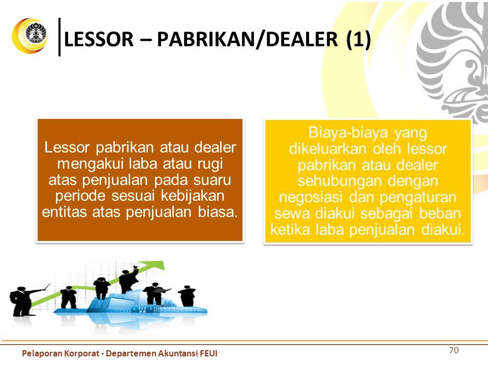 LESSOR – PABRIKAN/DEALER (1) Lessor pabrikan atau dealer mengakui laba atau rugi atas penjualan pada suaru periode sesuai kebijakan entitas atas penju