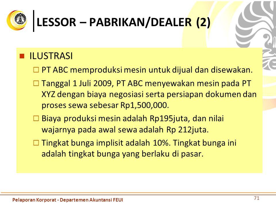 LESSOR – PABRIKAN/DEALER (2) ILUSTRASI  PT ABC memproduksi mesin untuk dijual dan disewakan.  Tanggal 1 Juli 2009, PT ABC menyewakan mesin pada PT X
