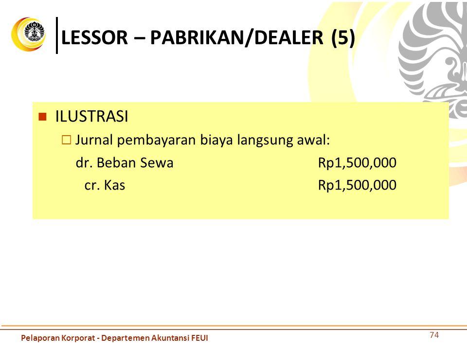 LESSOR – PABRIKAN/DEALER (5) ILUSTRASI  Jurnal pembayaran biaya langsung awal: dr. Beban SewaRp1,500,000 cr. KasRp1,500,000 74 Pelaporan Korporat - D