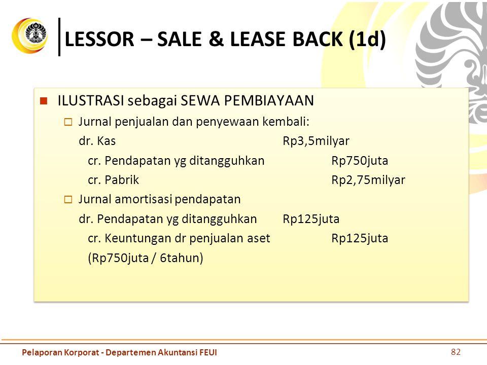 LESSOR – SALE & LEASE BACK (1d) ILUSTRASI sebagai SEWA PEMBIAYAAN  Jurnal penjualan dan penyewaan kembali: dr. KasRp3,5milyar cr. Pendapatan yg ditan