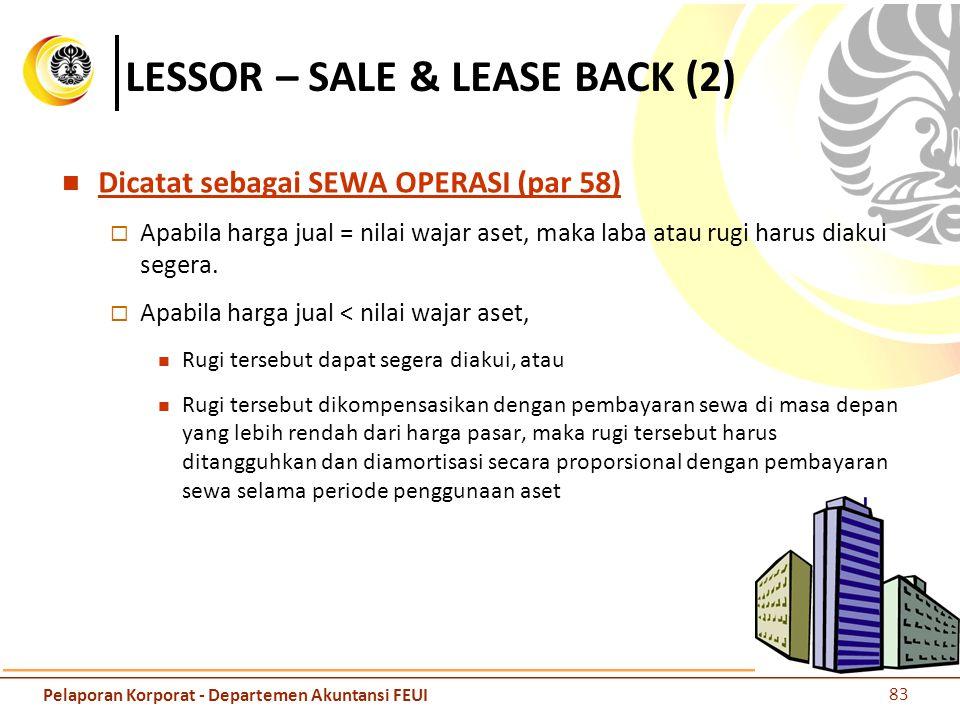 LESSOR – SALE & LEASE BACK (2) Dicatat sebagai SEWA OPERASI (par 58)  Apabila harga jual = nilai wajar aset, maka laba atau rugi harus diakui segera.