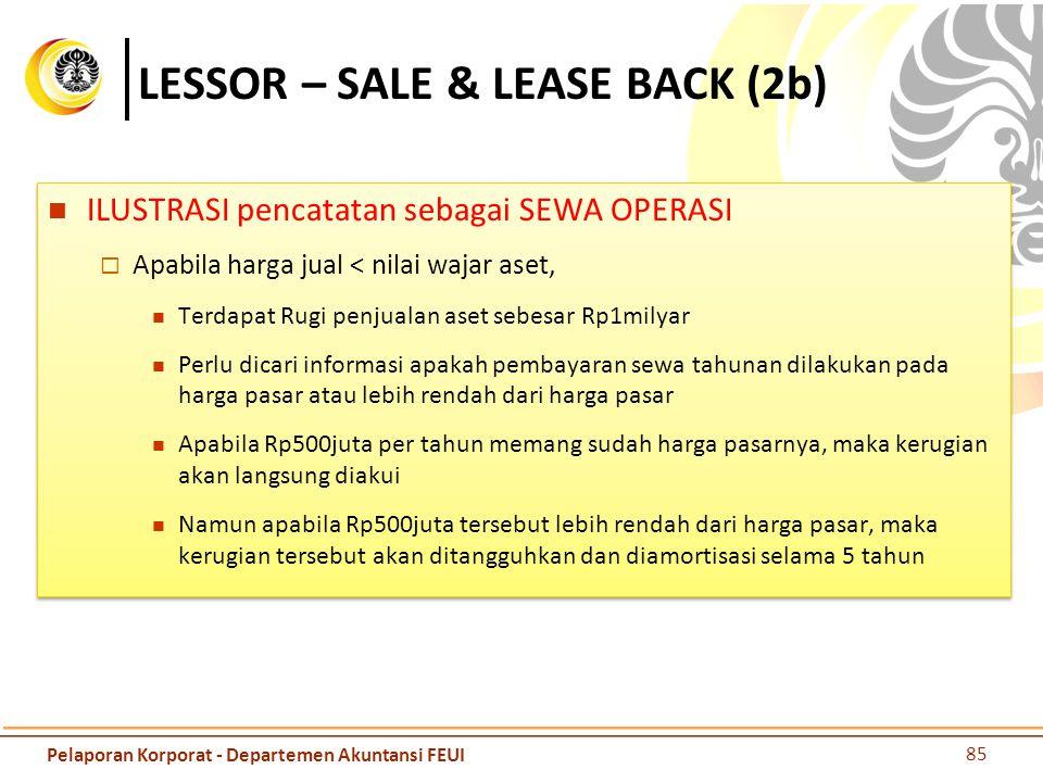 LESSOR – SALE & LEASE BACK (2b) ILUSTRASI pencatatan sebagai SEWA OPERASI  Apabila harga jual < nilai wajar aset, Terdapat Rugi penjualan aset sebesa