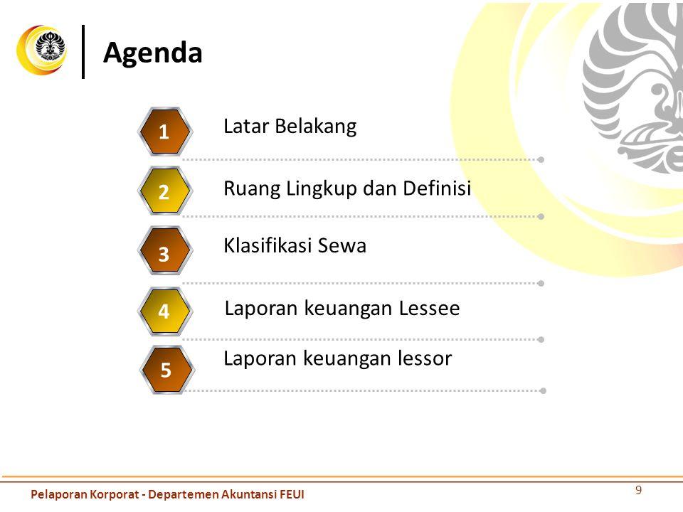 Agenda 9 Ruang Lingkup dan Definisi 1 Klasifikasi Sewa 2 Laporan keuangan Lessee 3 Laporan keuangan lessor 4 5 Latar Belakang Pelaporan Korporat - Dep