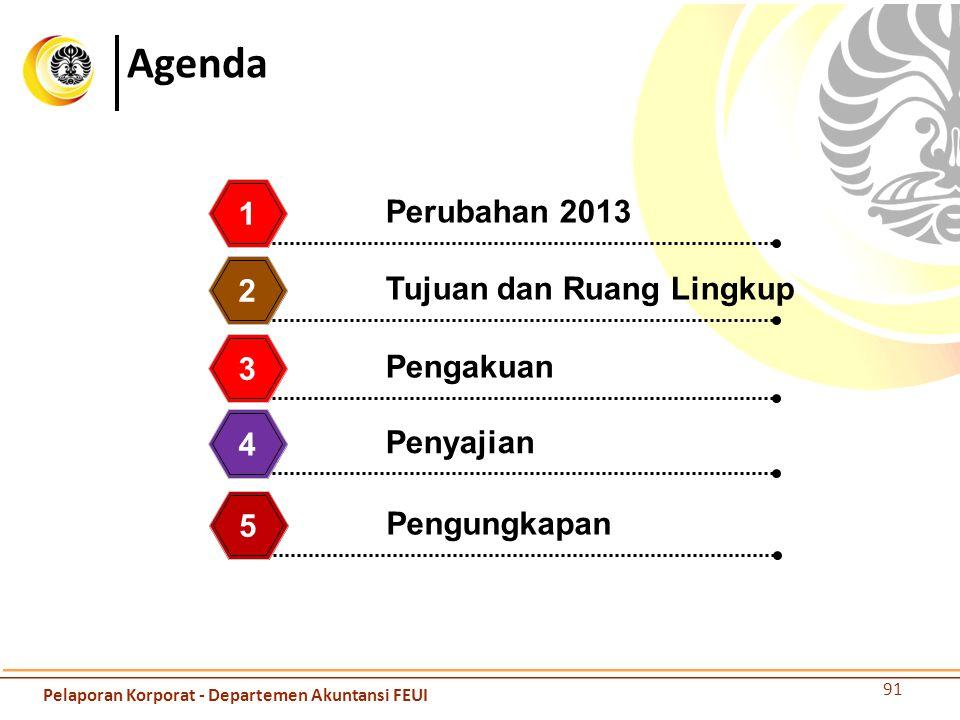 Agenda Perubahan 2013 1 Tujuan dan Ruang Lingkup 2 Pengakuan 3 Penyajian 4 91 Pengungkapan 5 Pelaporan Korporat - Departemen Akuntansi FEUI