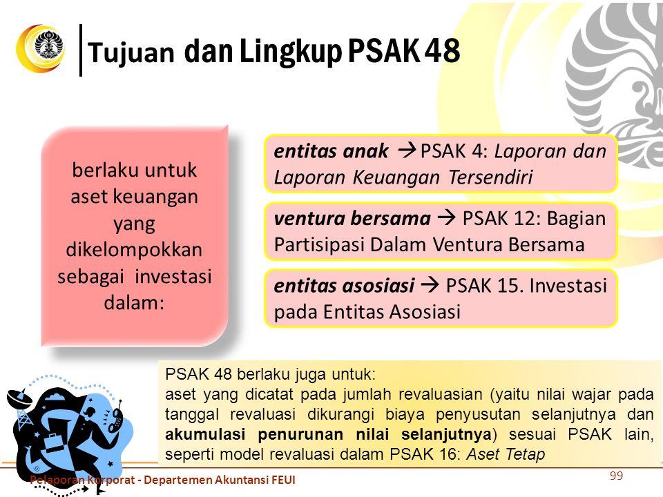 Tujuan dan Lingkup PSAK 48 99 berlaku untuk aset keuangan yang dikelompokkan sebagai investasi dalam: entitas anak  PSAK 4: Laporan dan Laporan Keuan