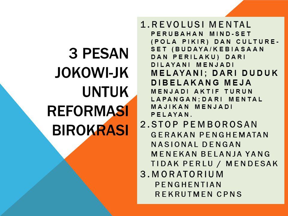 3 PESAN JOKOWI-JK UNTUK REFORMASI BIROKRASI 1.REVOLUSI MENTAL PERUBAHAN MIND-SET (POLA PIKIR) DAN CULTURE- SET (BUDAYA/KEBIASAAN DAN PERILAKU) DARI DI