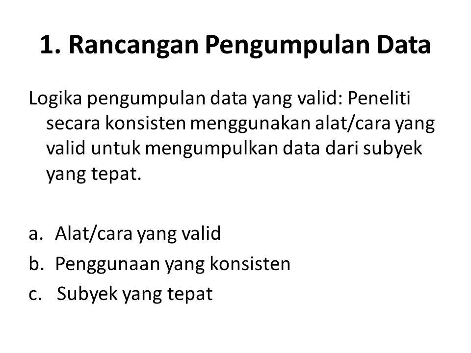 1. Rancangan Pengumpulan Data Logika pengumpulan data yang valid: Peneliti secara konsisten menggunakan alat/cara yang valid untuk mengumpulkan data d