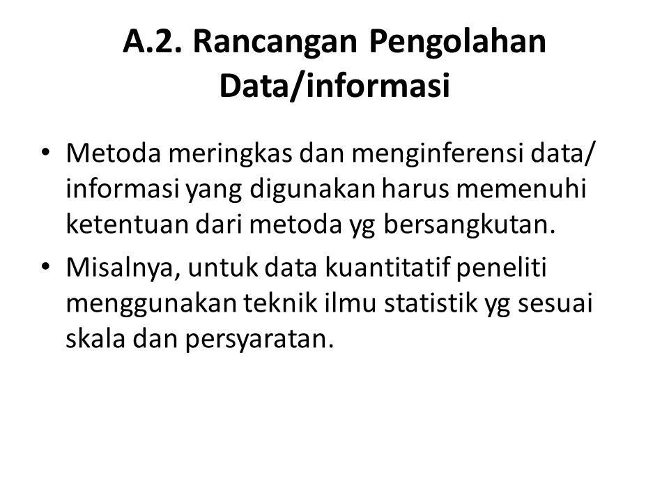 A.2. Rancangan Pengolahan Data/informasi Metoda meringkas dan menginferensi data/ informasi yang digunakan harus memenuhi ketentuan dari metoda yg ber