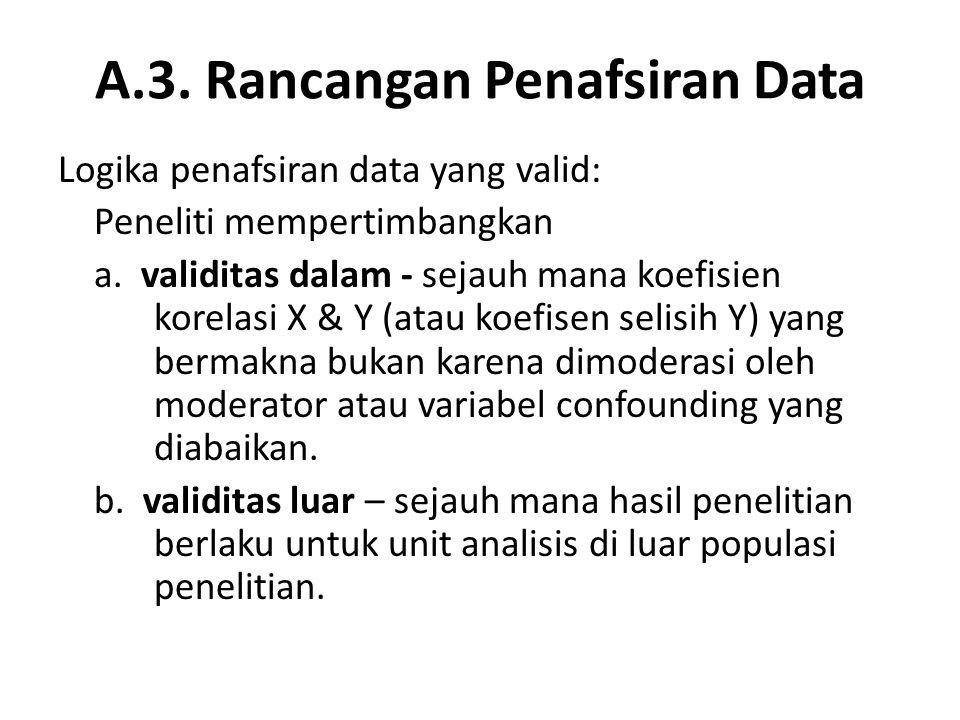 A.3. Rancangan Penafsiran Data Logika penafsiran data yang valid: Peneliti mempertimbangkan a. validitas dalam - sejauh mana koefisien korelasi X & Y