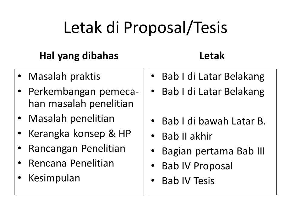 Letak di Proposal/Tesis Hal yang dibahas Masalah praktis Perkembangan pemeca- han masalah penelitian Masalah penelitian Kerangka konsep & HP Rancangan