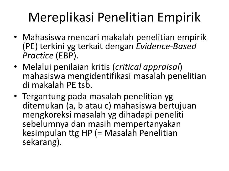 Mereplikasi Penelitian Empirik Mahasiswa mencari makalah penelitian empirik (PE) terkini yg terkait dengan Evidence-Based Practice (EBP). Melalui peni