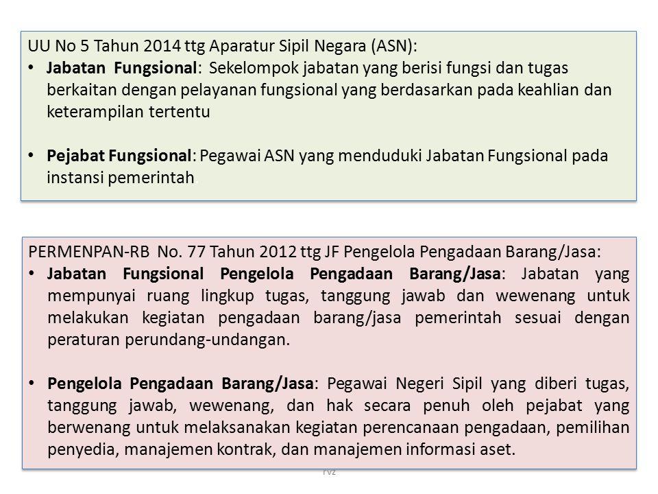 UU No 5 Tahun 2014 ttg Aparatur Sipil Negara (ASN): Jabatan Fungsional: Sekelompok jabatan yang berisi fungsi dan tugas berkaitan dengan pelayanan fun