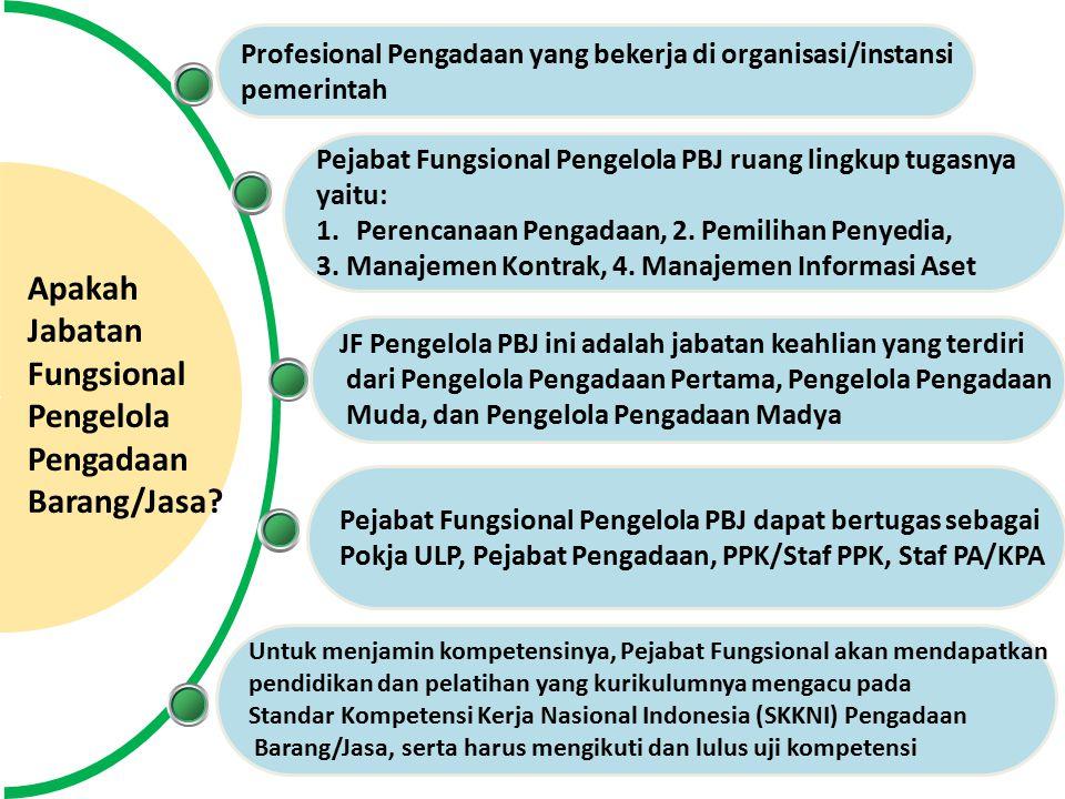 Profesional Pengadaan yang bekerja di organisasi/instansi pemerintah Apakah Jabatan Fungsional Pengelola Pengadaan Barang/Jasa.