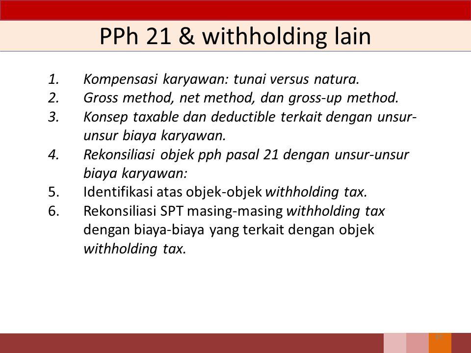 Unsur Beban 44 1.Tax planning pengelompokkan jenis penghasilan untuk menghitung angsuran masa PPh Pasal 25. 2.Foreign exchange revenue. 3.Rekonsiliasi