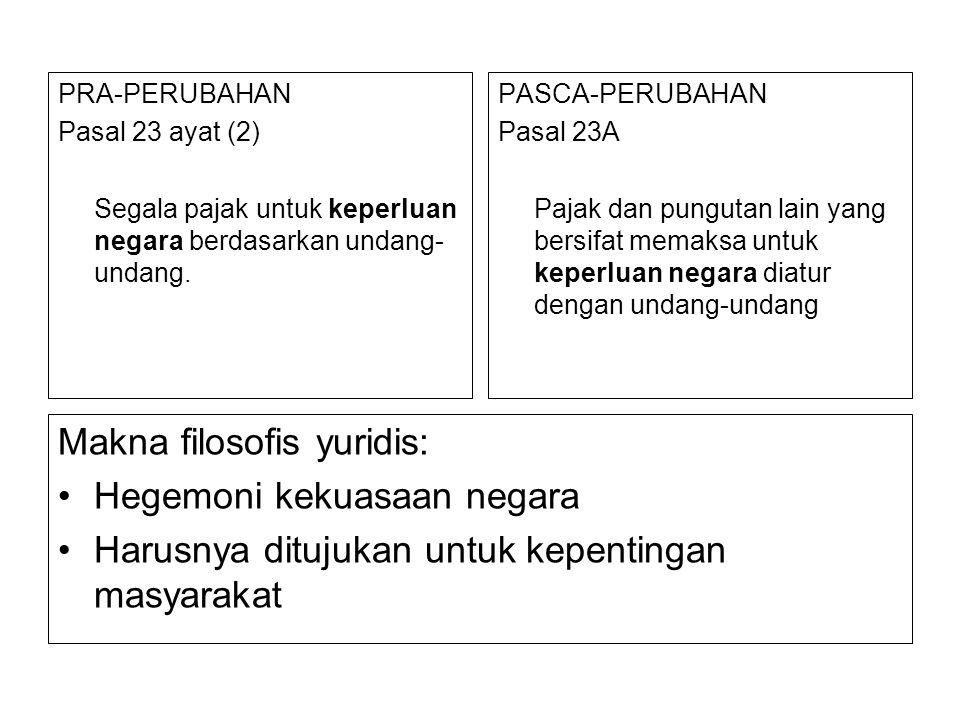 PRA-PERUBAHAN Pasal 23 ayat (2) Segala pajak untuk keperluan negara berdasarkan undang- undang. PASCA-PERUBAHAN Pasal 23A Pajak dan pungutan lain yang