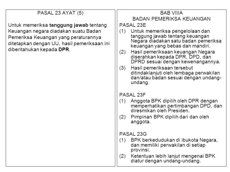 PASAL 23 AYAT (5) Untuk memeriksa tanggung jawab tentang Keuangan negara diadakan suatu Badan Pemeriksa Keuangan yang peraturannya ditetapkan dengan U