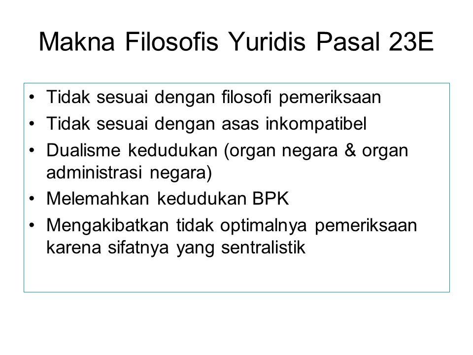 Makna Filosofis Yuridis Pasal 23E Tidak sesuai dengan filosofi pemeriksaan Tidak sesuai dengan asas inkompatibel Dualisme kedudukan (organ negara & or
