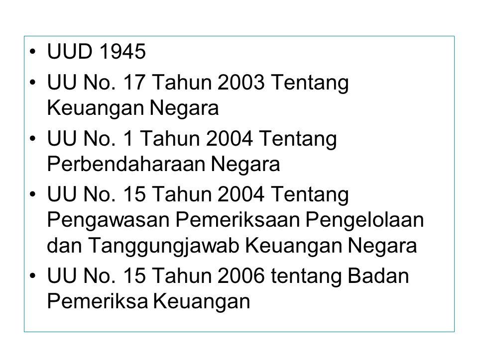UUD 1945 UU No. 17 Tahun 2003 Tentang Keuangan Negara UU No. 1 Tahun 2004 Tentang Perbendaharaan Negara UU No. 15 Tahun 2004 Tentang Pengawasan Pemeri
