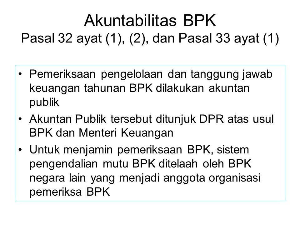 Akuntabilitas BPK Pasal 32 ayat (1), (2), dan Pasal 33 ayat (1) Pemeriksaan pengelolaan dan tanggung jawab keuangan tahunan BPK dilakukan akuntan publ